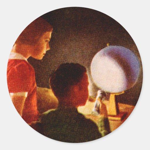 Arte retro del libro de escuela de la ciencia del pegatina redonda