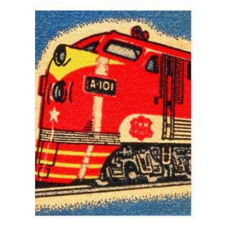 Arte retro del Matchbook del tren del kitsch 30s Tarjeta Postal