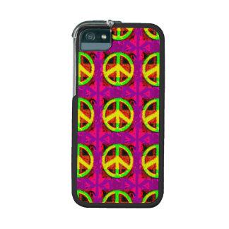 arte retro del signo de la paz del hippy de los añ