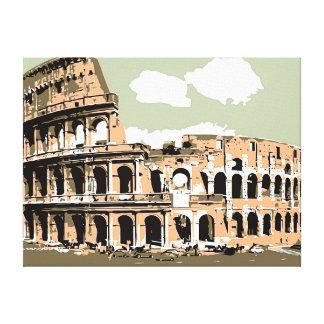 Arte retro Roma del vector el Colosseum Impresión En Tela