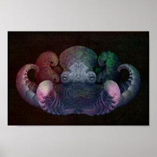 Arte rizado del compuesto del pulpo del fractal co posters