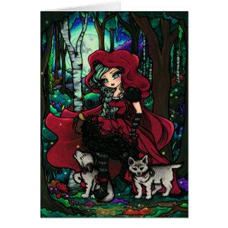 Arte rojo de la fantasía del cuento de hadas de la tarjetón