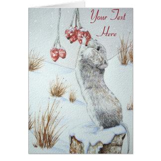 Arte rojo de la fauna de la escena de la nieve de tarjeta de felicitación