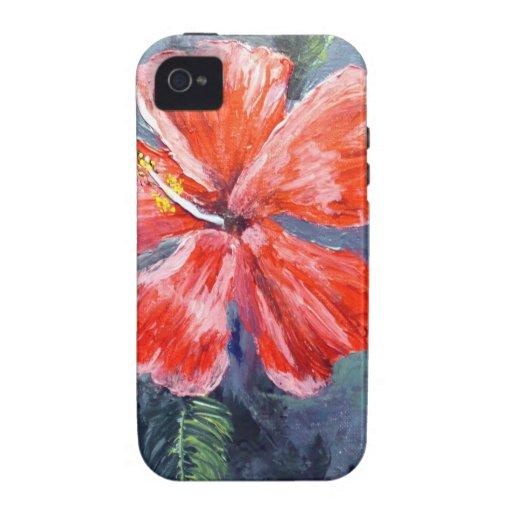 Arte rojo de la flor de Hibisus iPhone 4/4S Funda