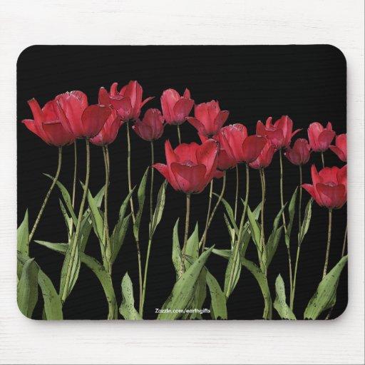 Arte rojo de la flor del diseño floral de los tuli alfombrillas de ratones