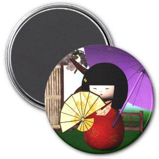 Arte rojo de la muñeca de Kokeshi Imán Redondo 7 Cm
