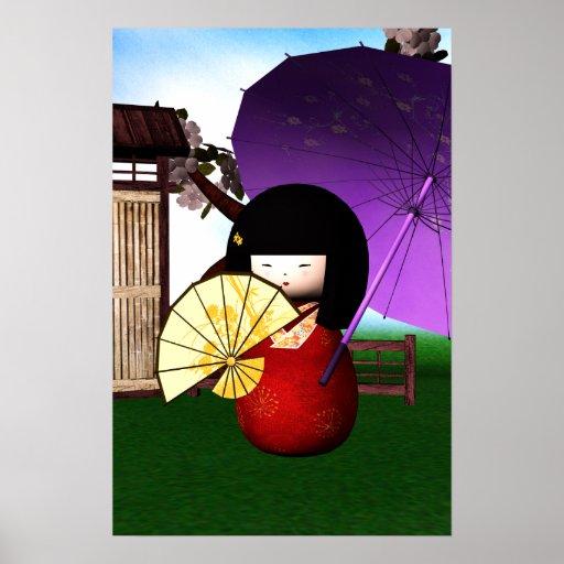 Arte rojo de la muñeca de Kokeshi Poster