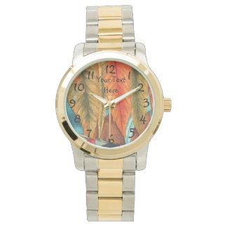 arte rojo de la original del oro de la hoja relojes de pulsera