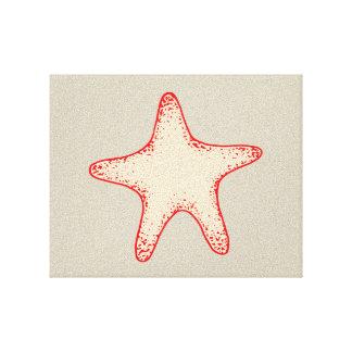 Arte rojo de la pared de las estrellas de mar lienzo envuelto para galerias
