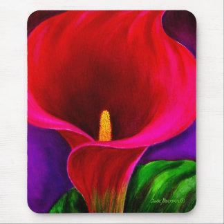 Arte rojo de la pintura de la flor del lirio de Ca Alfombrilla De Ratones