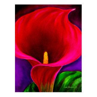 Arte rojo de la pintura de la flor del lirio de Ca Tarjeta Postal