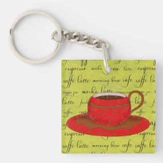 Arte rojo de la taza de café en palabras de la esc llavero