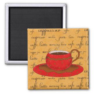 Arte rojo de la taza de café en palabras de la imán cuadrado