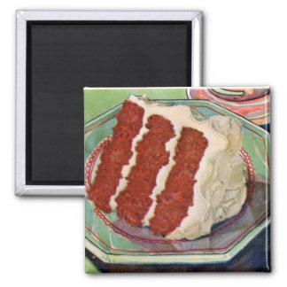Arte rojo de la torta del terciopelo del vintage d imán cuadrado