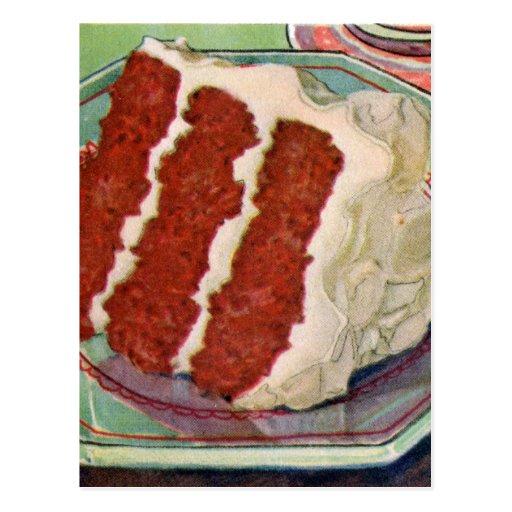 Arte rojo de la torta del terciopelo del vintage d postal