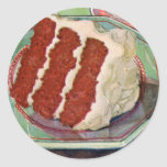Arte rojo de la torta del terciopelo del vintage etiqueta redonda