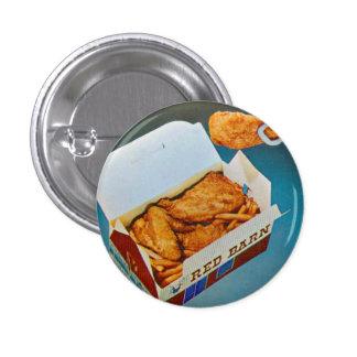 Arte rojo del anuncio del pollo frito del granero  pin redondo de 1 pulgada