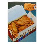 Arte rojo del anuncio del pollo frito del granero  felicitacion