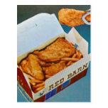 Arte rojo del anuncio del pollo frito del granero  tarjetas postales