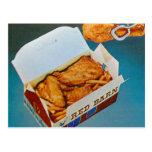 Arte rojo del anuncio del pollo frito del granero  postales