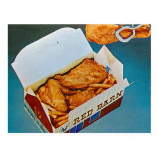 Arte rojo del anuncio del pollo frito del granero postal