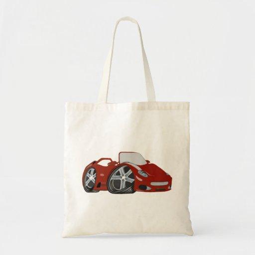 Arte rojo del coche del dibujo animado bolsas