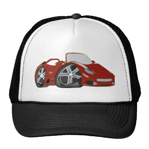 Arte rojo del coche del dibujo animado gorras