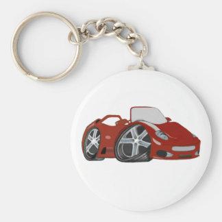 Arte rojo del coche del dibujo animado llavero redondo tipo pin