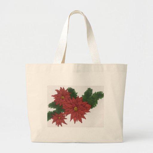 Arte rojo del diseño del navidad de la flor del Po Bolsa Tela Grande