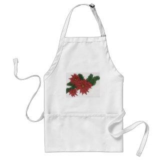 Arte rojo del diseño del navidad de la flor del Po Delantal