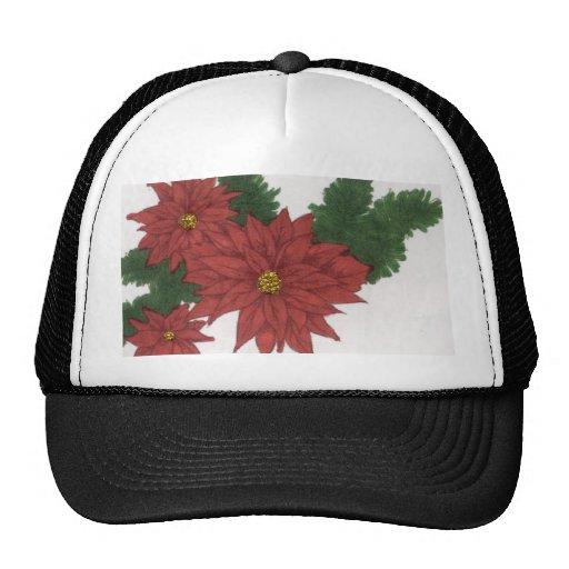 Arte rojo del diseño del navidad de la flor del Po Gorras De Camionero