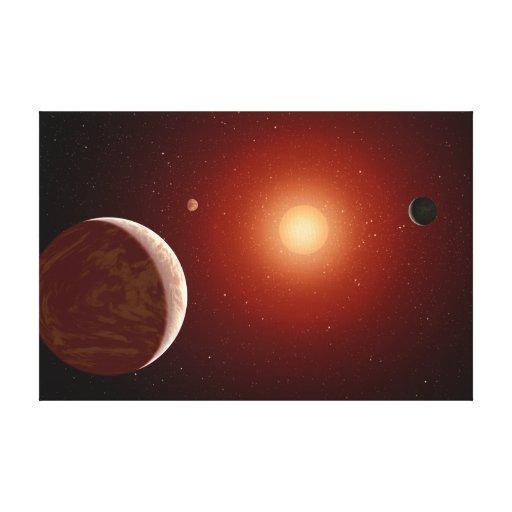 Arte rojo del espacio de la estrella enana impresiones en lienzo estiradas