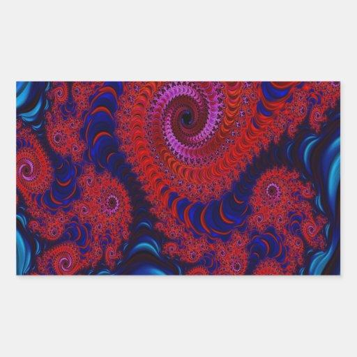 Arte rojo del fractal Dragon2 Pegatina Rectangular
