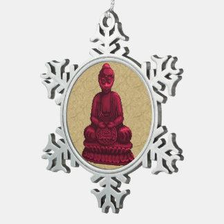 Arte rojo del pixel de Buda Adorno De Peltre En Forma De Copo De Nieve