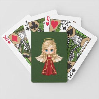 Arte rojo del pixel del ángel baraja cartas de poker