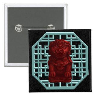 Arte rojo del pixel del perro del león pin cuadrada 5 cm