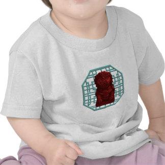 Arte rojo del pixel del perro del león camisetas