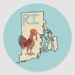 Arte rojo del pollo del mapa y del dibujo animado pegatina redonda