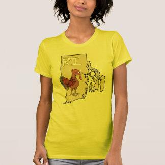 Arte rojo del pollo del mapa y del dibujo animado  camisetas