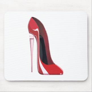 Arte rojo del zapato del estilete del talón de Cha Alfombrillas De Ratones