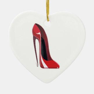 Arte rojo del zapato del estilete del talón loco adorno navideño de cerámica en forma de corazón