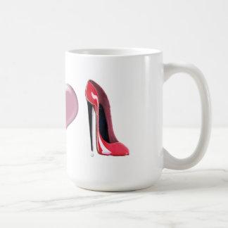 Arte rojo del zapato del tacón alto del estilete taza de café