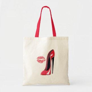Arte rojo del zapato y de los labios del estilete bolsa tela barata