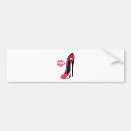 Arte rojo del zapato y de los labios del estilete etiqueta de parachoque