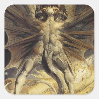 Arte rojo Guillermo Blake del dragón Pegatina Cuadrada