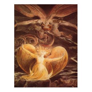 Arte rojo Guillermo Blake del dragón Postal