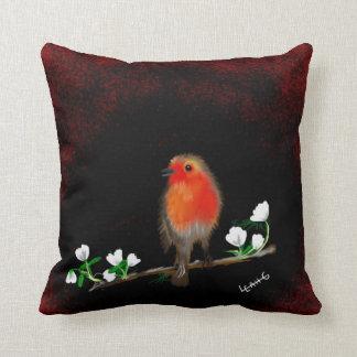 Arte rojo imponente del petirrojo almohadas