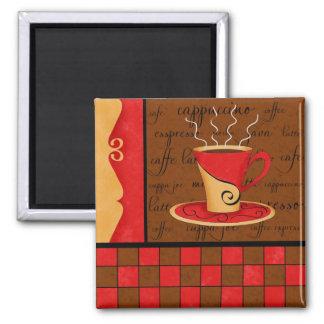 Arte rojo marrón del café del café express del oro imán cuadrado