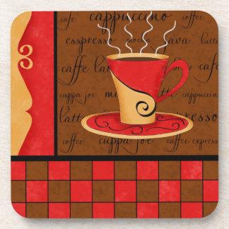 Arte rojo marrón del café del café express del oro posavasos de bebida