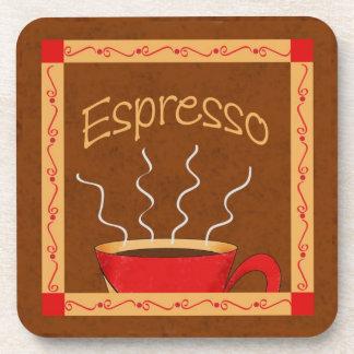 Arte rojo marrón del café del café express del oro posavasos de bebidas